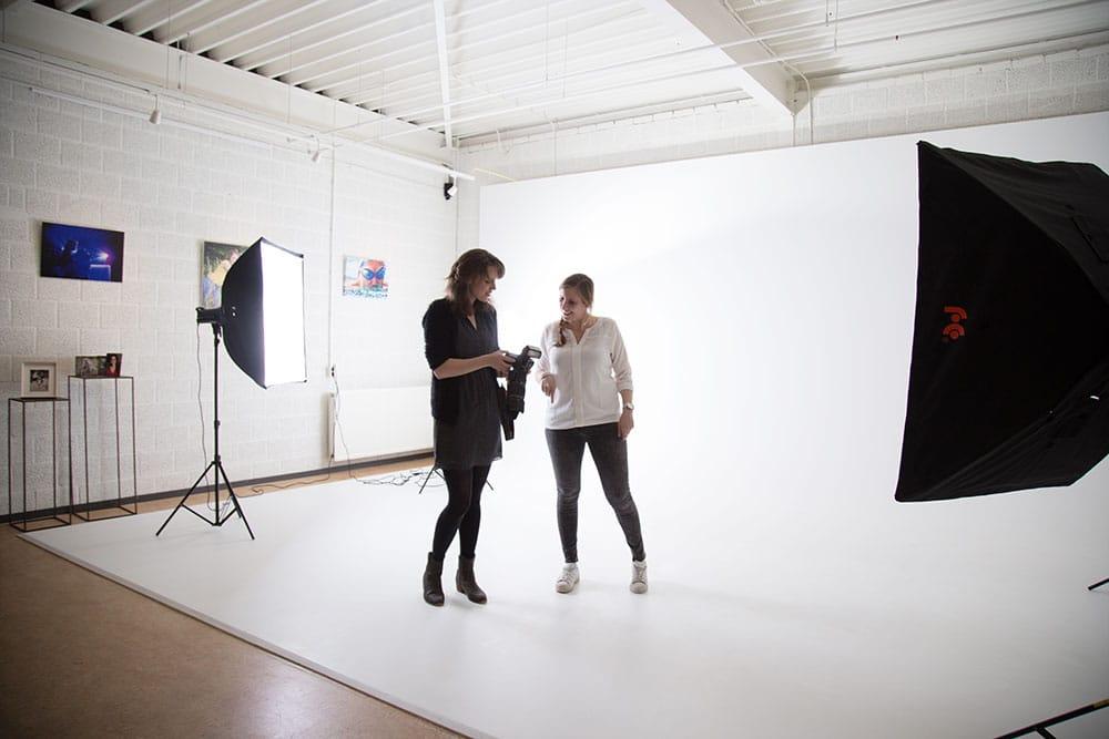 fotograaf met een fotostudio