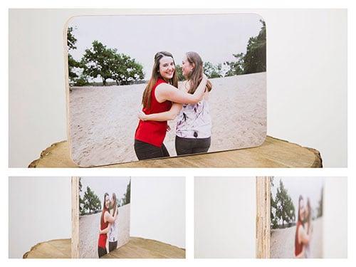 fotoshoot met houtblok