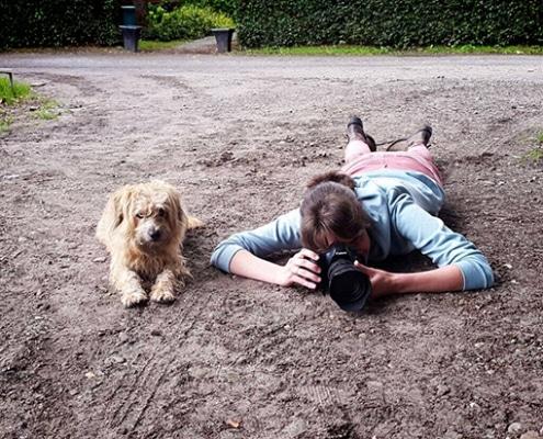 fotograaf met hond
