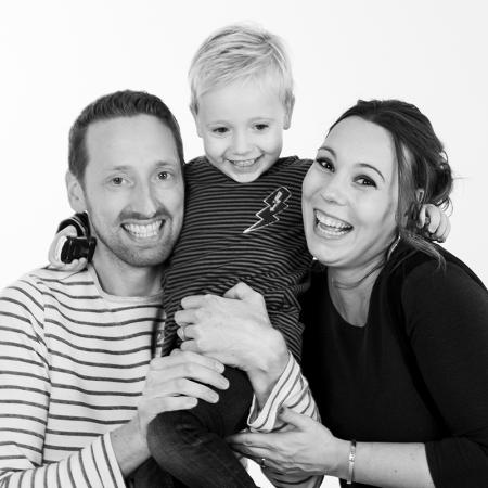 Familiefoto zwartwit