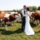 bruidsfotografie op een boerderij